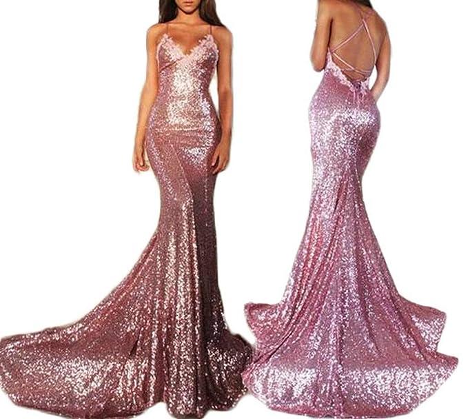 eead57d4be95 Fanciest Spaghetti Straps Sequin Lace Prom Dresses 2017 Long Mermaid Prom  Dress Pink US2