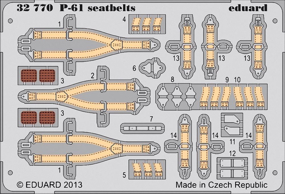 Eduard Photoetch 1:32 - P-61 Seatbelts (Hobbyboss)