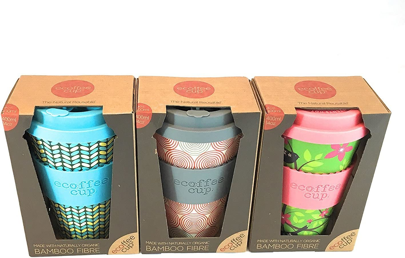 Ecoffee Cup 3 pack, Reusable Coffee Cup 400ml, Organic Natural Bamboo Fibre ideal travel mug or home coffee mug, 3 awesome designs in set