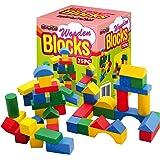 Sentik® Wooden Construction Building Blocks Bricks Children's Wood Toys Pieces Xmas Gift (75 Bricks (Boxed)