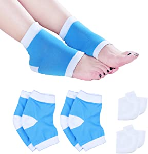 eKoi Soft Unisex Silicone Heel Cushion Cups Gel Sleeve Pad Moisturizing Cream Spa Socks Open Toe for Dry Foot Plantar Ankle Crack Skin Protection Support Pain Callus Heal Relief Treatment - 4 Pairs