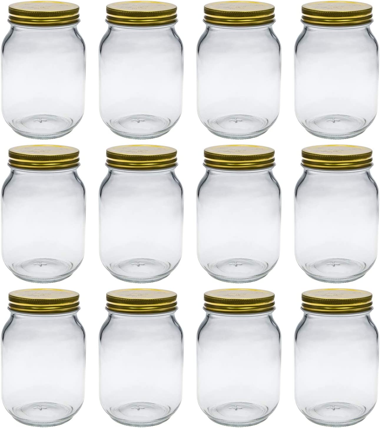 Tebery 12 Pack Mason Jars 16 oz With Regular Lids and Bands Glass Jars Canning Jars for Jam, Honey, Wedding Favors, Shower Favors, Baby Foods