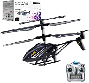 MDGZY Remote Control Helicopter with Gyro 2.4GHz LED Light,3.5 Channel Altitude Hold Helicopter, One Key Take Off/Landing, Indoor Mini Drones RC Helicopter Toy Gift for Boys Kids Adult, Black