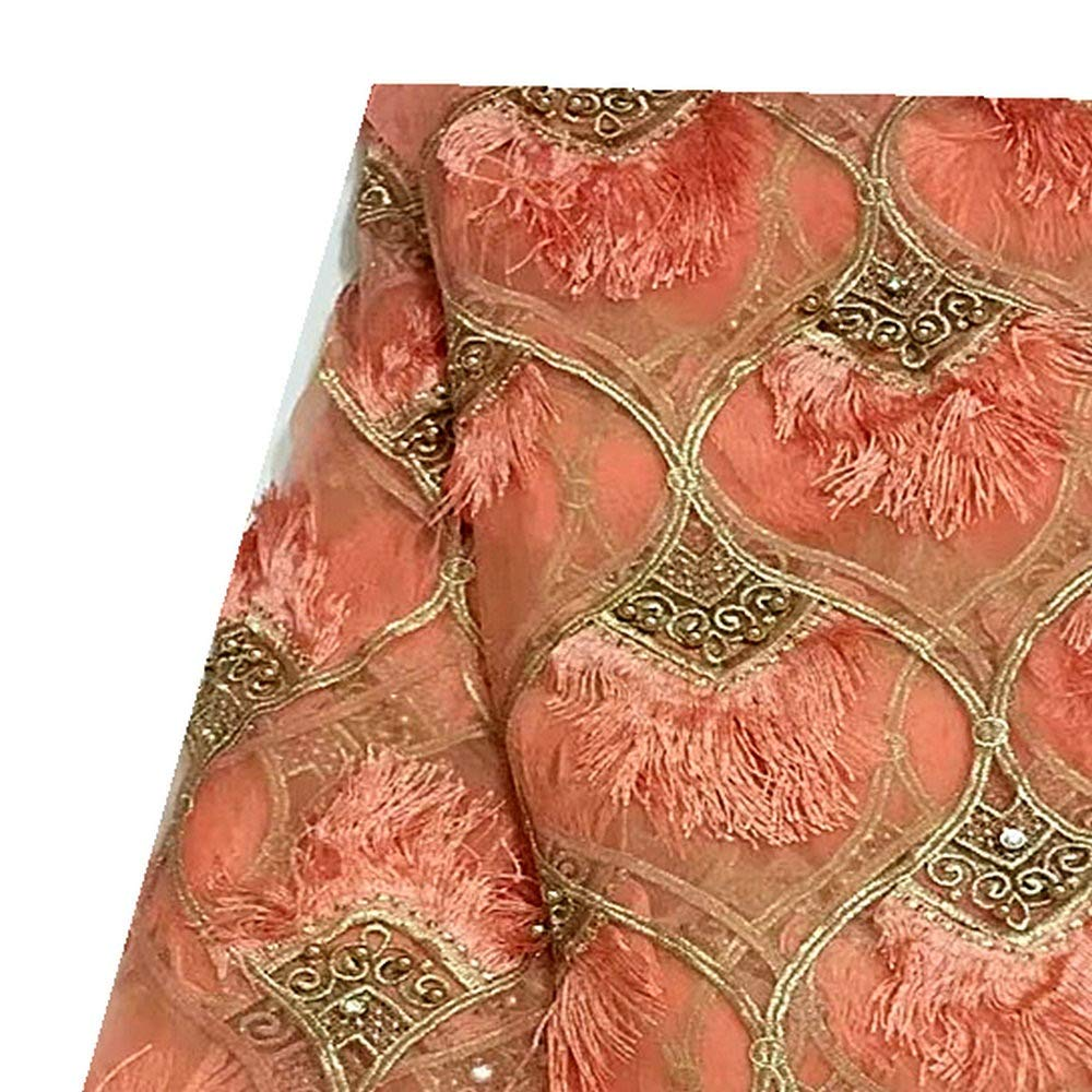 African Lace Fabric Nigerian Lace Fabric with Beaded Embroidery Tulle for Fashion Woman Wedding,3D Lace Fabric Color : Gold, Size : 5YARDS