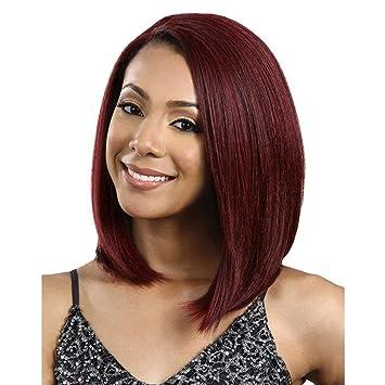 SHKY Elegante nuevo corto recto peluca Bob de pelo rojo vino resistente al calor peluca de