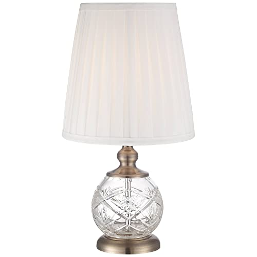 Ida Traditional Accent Table Lamp 15 High Crystal Sphere Brass Pleated White Empire Shade for Bedroom Bedside Nightstand – Regency Hill