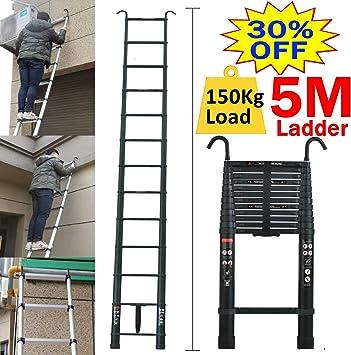 Escalera de aluminio plegable telescópica, portátil, plegable, alta de 5 m, multiusos, con capacidad de carga máxima de 150 kg, EN131, ligera, fácil de transportar: Amazon.es: Bricolaje y herramientas