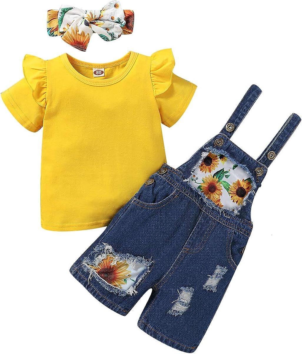 puseky Niños Niñas Niñas Trajes Volantes Camisa Amarilla Girasol Tirante Pantalones de Mezclilla Diadema: Amazon.es: Ropa y accesorios