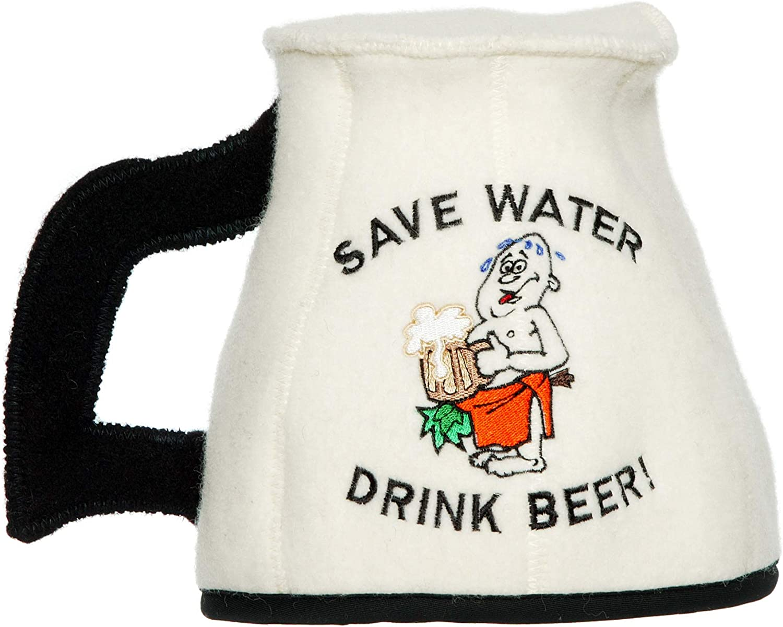 Natural In a Price reduction popularity Textile Sauna Hat 'Save Water 100% Mug' - White Organic