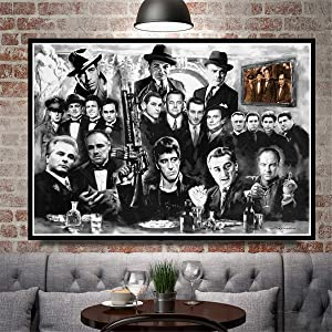 JESC Wall Painting Gangsters Godfather Art Canvas Prints Room Decor Black White Canvas Art Paintings for Bedroom Posters Wall Decor Men Living Room