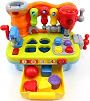 CifToys Musical Learning Workbench Toy for Kids Construction Work Bench Building Tools with Sound Effects & Lights Engineeri
