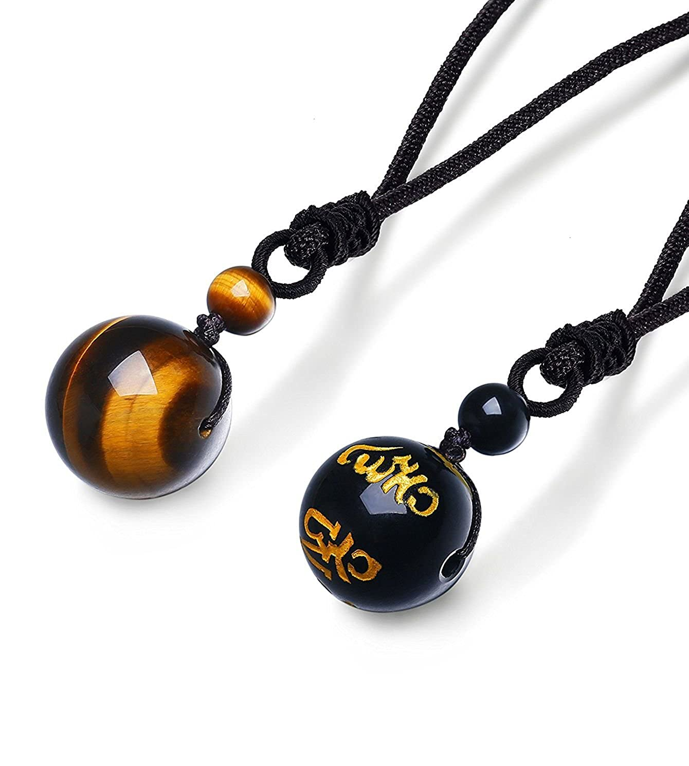 Besteel Jewelry Natural Tiger Eyes Stone Onyx Pendant Necklace for Men Women Chakra Beads Pendant Necklace Adjustable