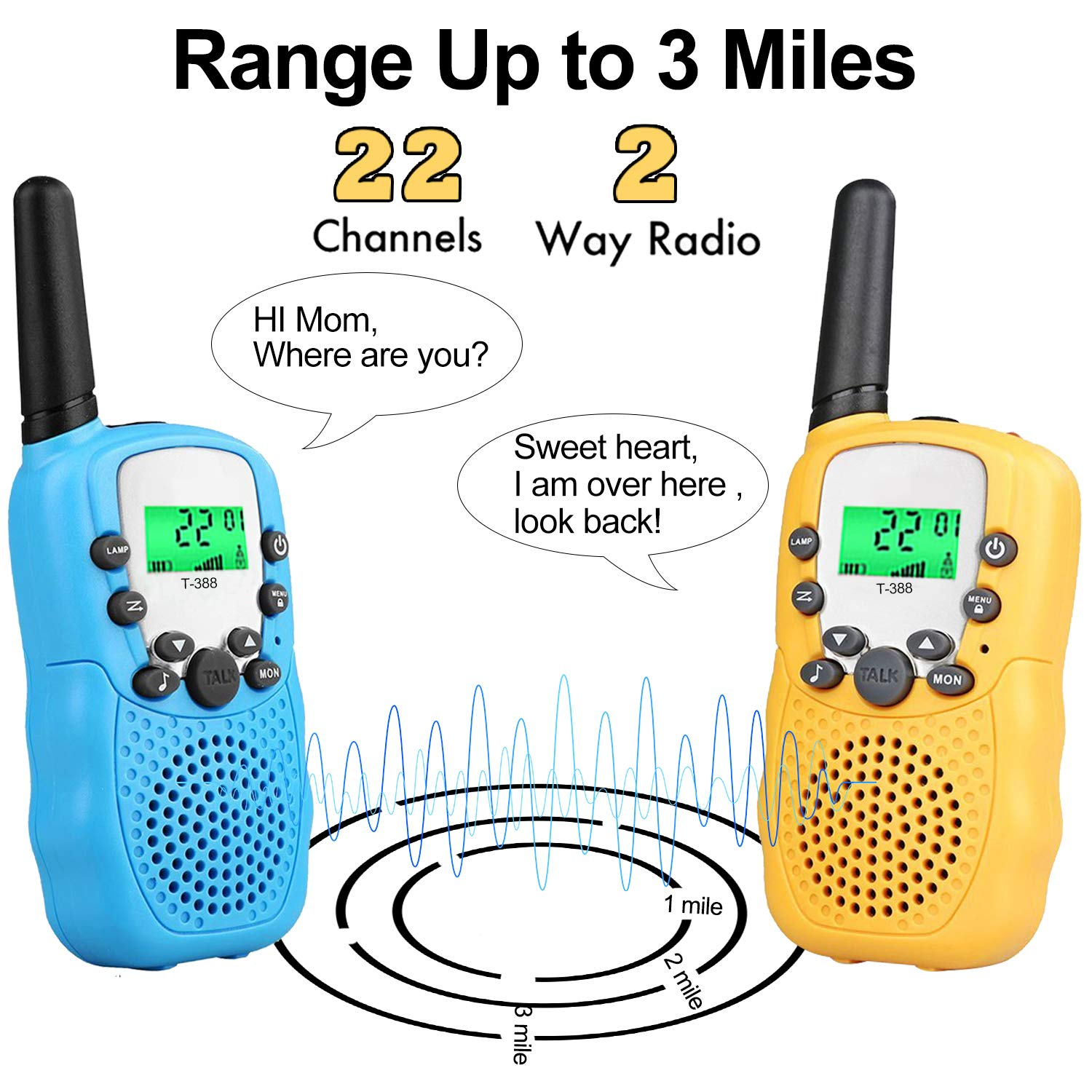 Kids Walkie Talkies Toys for 3-12 Year Old Boys Girls Toddlers, 4 Pack Walkie Talkies with 4 Earphones, 3 Mile Range 22 Channel Flashlight Two-Way Radio, Accessory for Outdoor Adventure Camping Game by iGeeKid (Image #3)