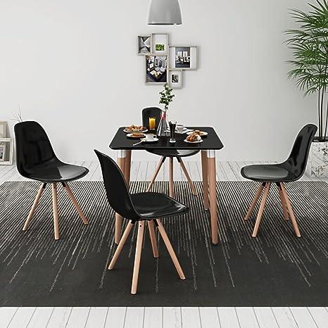 Furnituredeals 5 Pz Set Tavolo e Sedie Sala da Pranzo Nero.Il Design ...