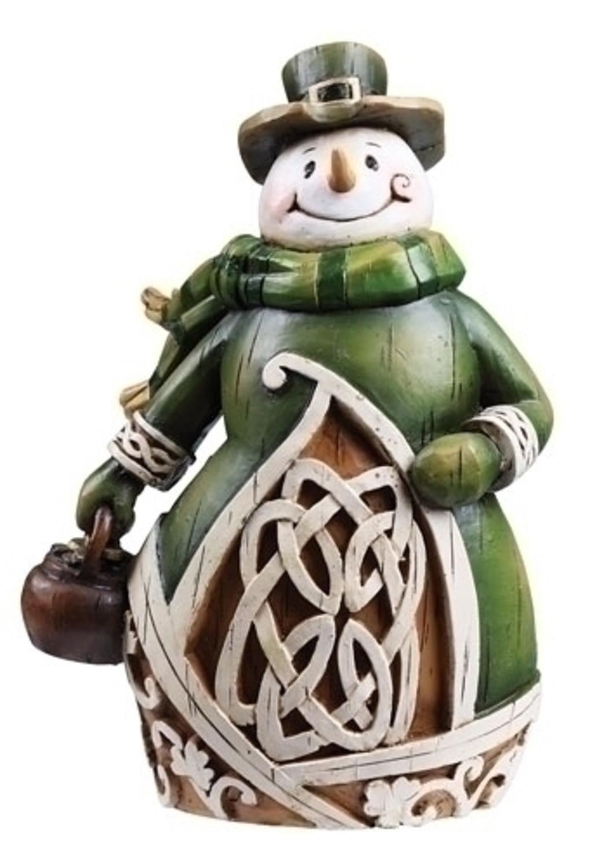 Celtic Charm Carved Woodcut-Style Irish Snowman Christmas Figure