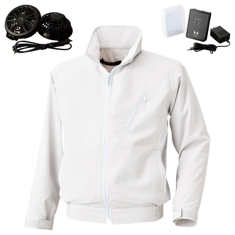 空調風神服サンエス長袖ジャケット(BK6057)+フラットファンレギュラーファンセット(RD9820R)+リチウムイオンバッテリー(RD9870J) セット販売 B07F28NY3V 5L|10ホワイト 10ホワイト 5L