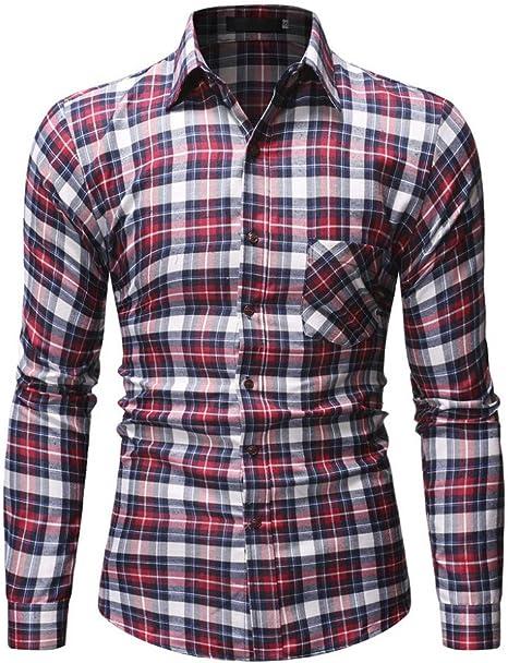 CHENS Camisa/Casual/Unisex/L Camisa de Verano para Hombre Tallas Grandes Casual Casual Cuadros Floral de Manga Larga Camisa con Botones Top Blusa Ropa roja Koszula: Amazon.es: Deportes y aire libre