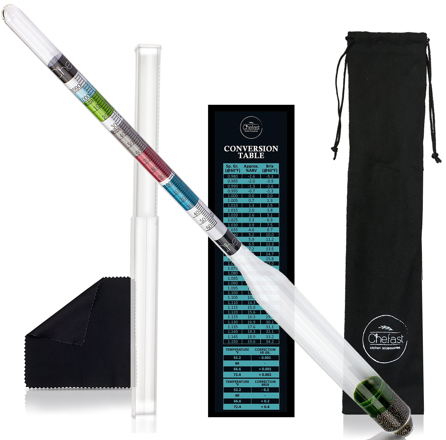 Chefast Hydrometer Kit for Wine, Beer, Mead and Kombucha - Combo Set of Triple-Scale Alcohol Hydrometer, Cleaning Cloth, and Storage Bag - ABV, Brix and Gravity Tester - Home Brewing Supplies