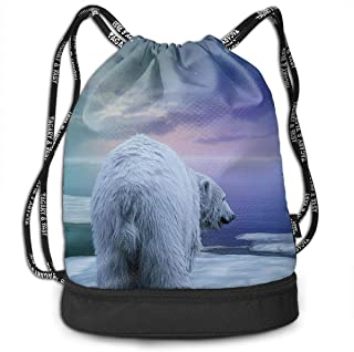 ziHeadwear Northern Lights Polar Bears and Penguins Drawstring Bag Sport Gym Sack Bundle Backpack Daypack for Men and Women Outdoor Shopping Satchel Rucksack