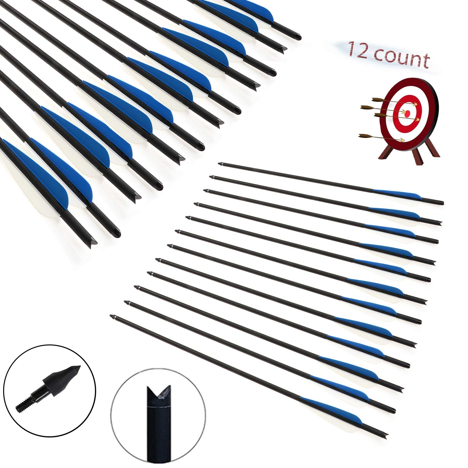 JY Crossbow Bolts Outdoor shooting Arrows Archery Hunting Arrow Replaceable Tips 12Pcs/box (22'')