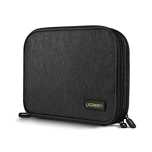 UGREEN Electronic Accessories Organiser Case, Travel Gadget Carry Bag with Double Layer for Adapters, Memory Cards, USB Cables, Power Bank, External Battery Pack, Portable Charger, Hard Drive and More