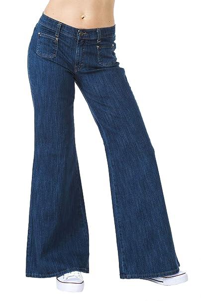 c516fa19361 Run   Fly Womens 60S 70S Blue Denim Stretch Wide Bell Bottoms Flares Hippie  Vintage Retro