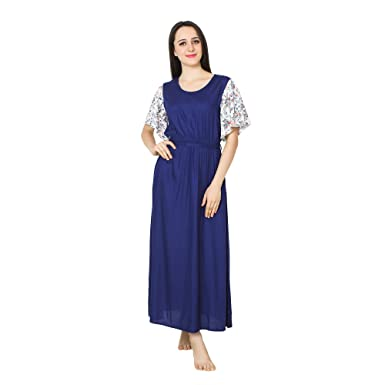 f346e90908 Patrorna Blended Women s Kaftan Style Shift Nighty Night Dress Gown in Royal  Blue (Size