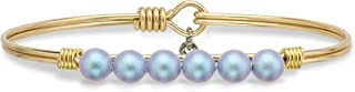 product image for Luca + Danni | Crystal Pearl Bangle Bracelet In Iridescent Light Blue For Women Made in USA