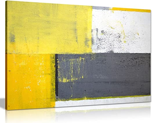 Grey and Yellow Abstract Art Painting Canvas Wall Art Picture Print 36x24in