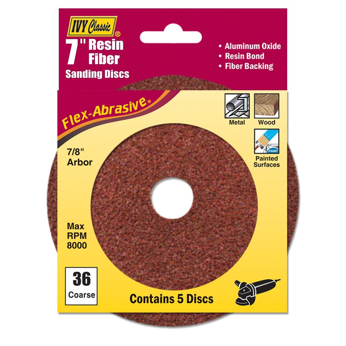 IVY Classic 42301 Flex-Abrasive 4-Inch x 5//8-Inch 36 Grit Coarse Resin Fiber Disc 5//Card