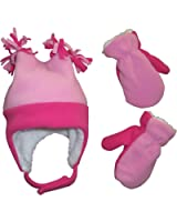 N'Ice Caps Little Girls and Baby 4 Corner Sherpa Lined Fleece Snow Hat Mitten Set