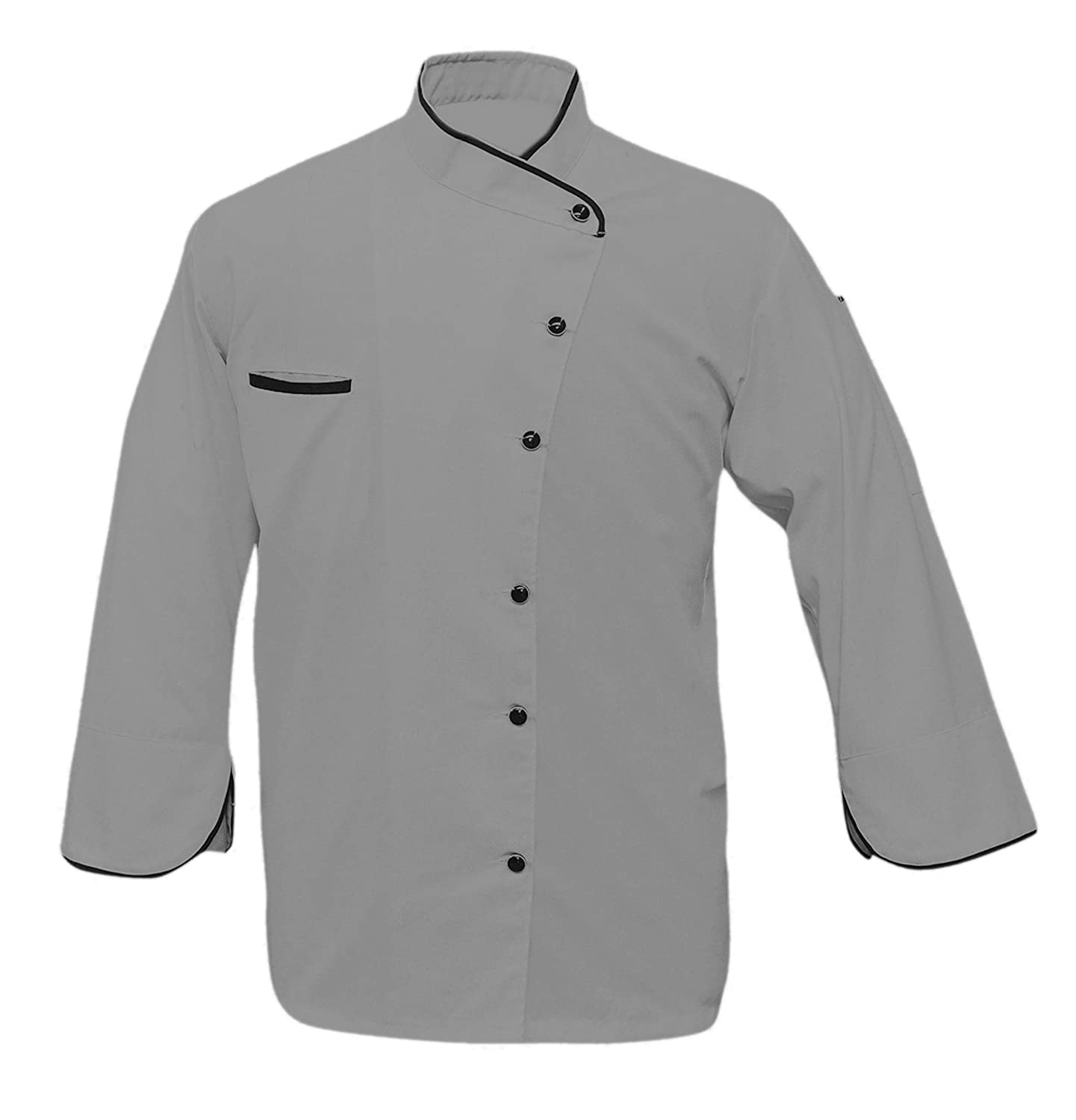 Leorenzo Creation CT-59 Men's Chef Coat Black Piping in Collar (Size=XXS-5XL, Six Colours=5) Leo Tailors