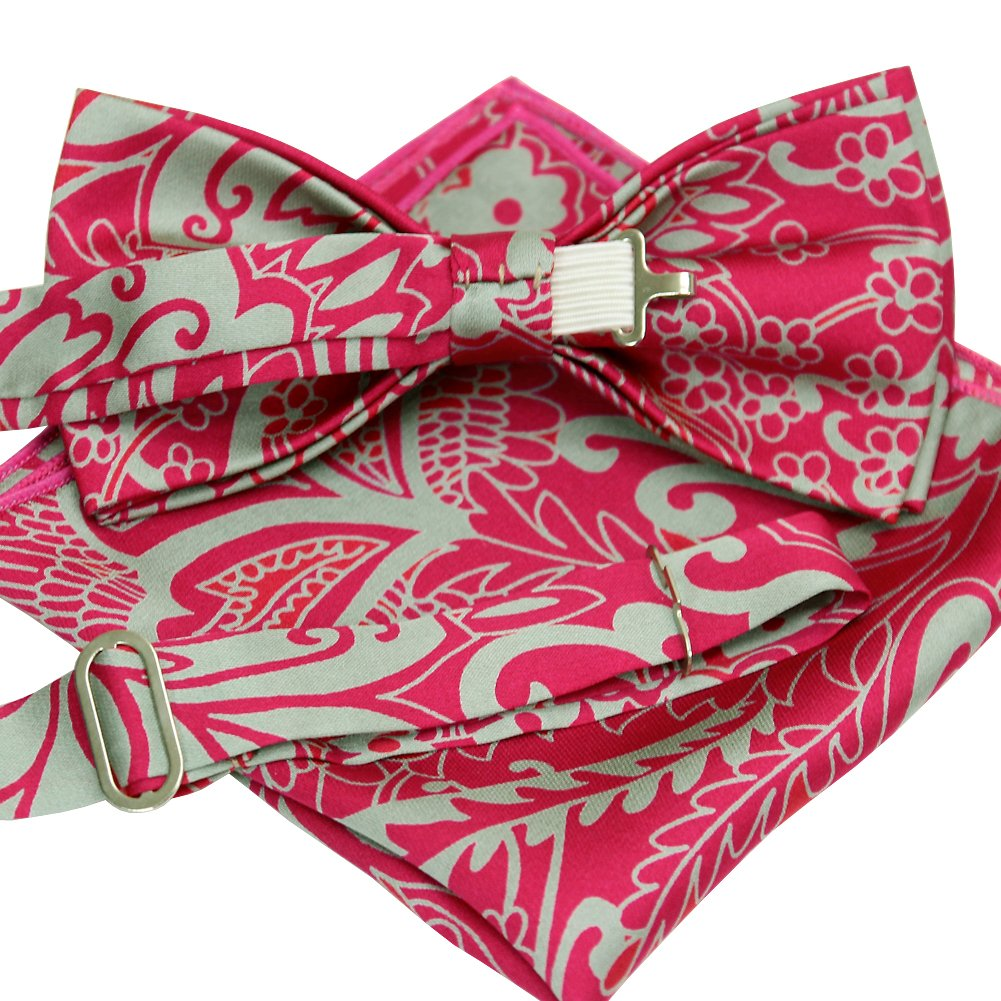 ST34 New Silk feel SATIN Magenta Pink Mens Bow tie and Pocket square SET BB-1233