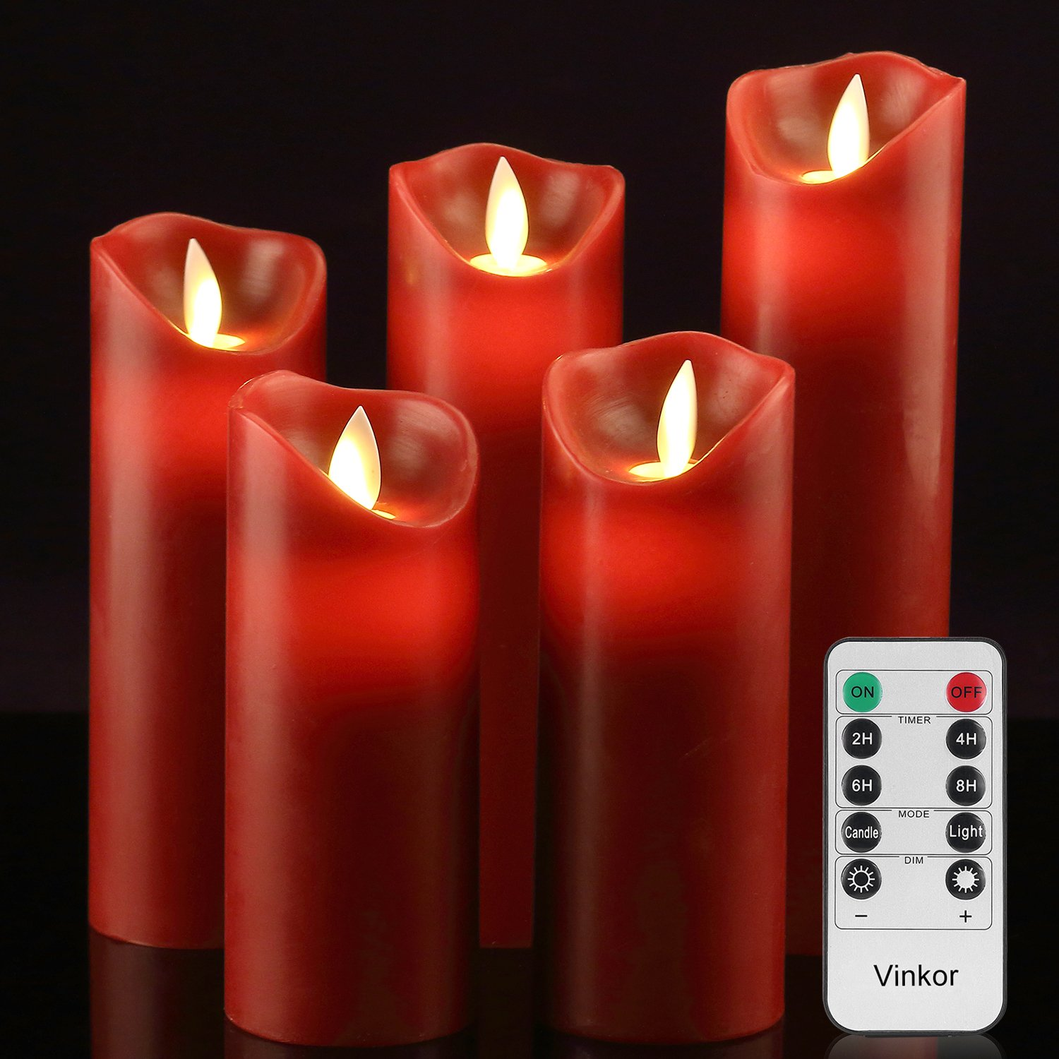 Vinkor Flameless Candles Battery Operated Candles 4'' 5'' 6'' 7'' 8'' Set of 5 Burgundy Real Wax Pillar LED Candles with 10-Key Remote and Cycling 24 Hours Timer