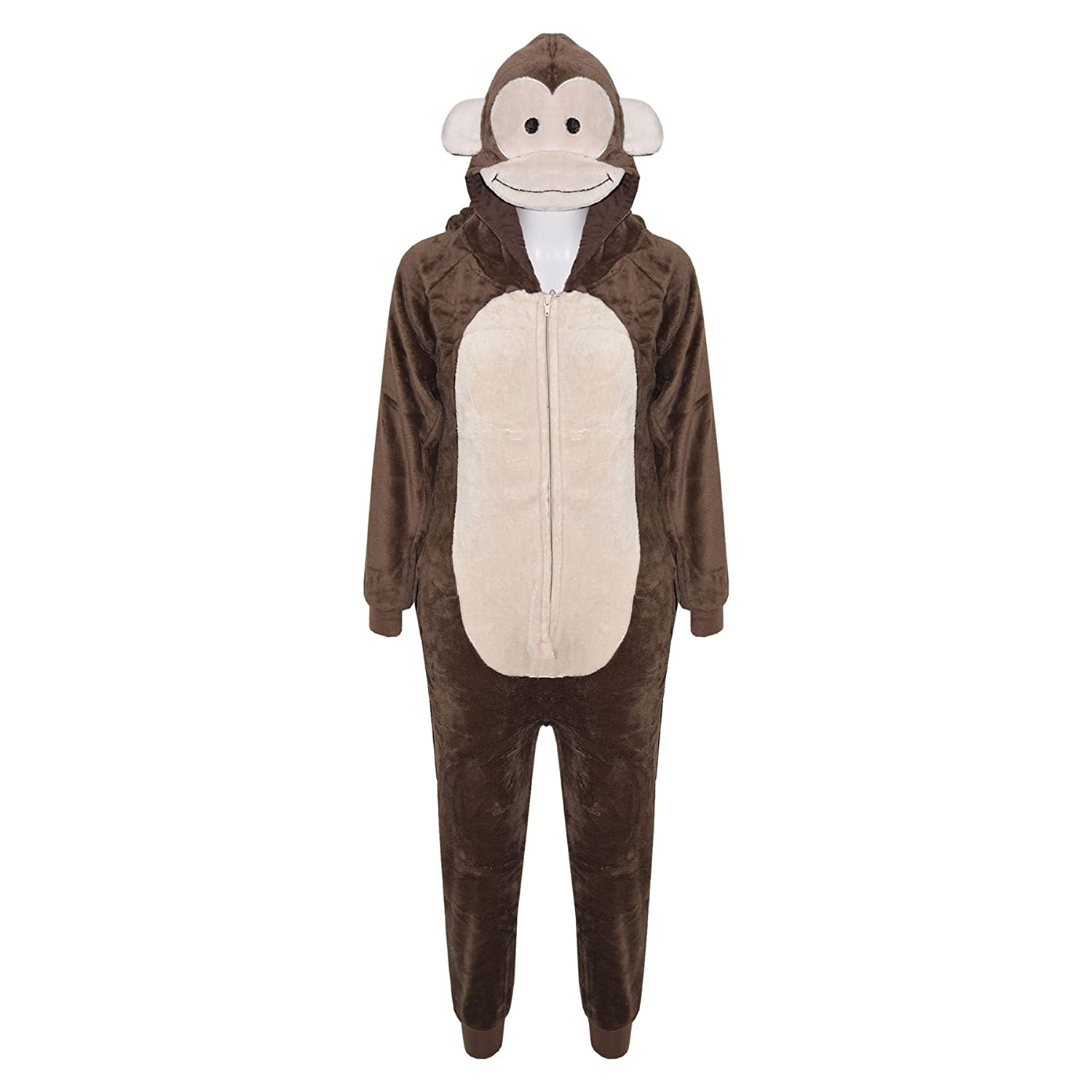 A2Z 4 Kids® Kids Girls Boys Onesie Extra Soft Fluffy Monkey All in One Halloween Costume New Age 7 8 9 10 11 12 13 14 Years