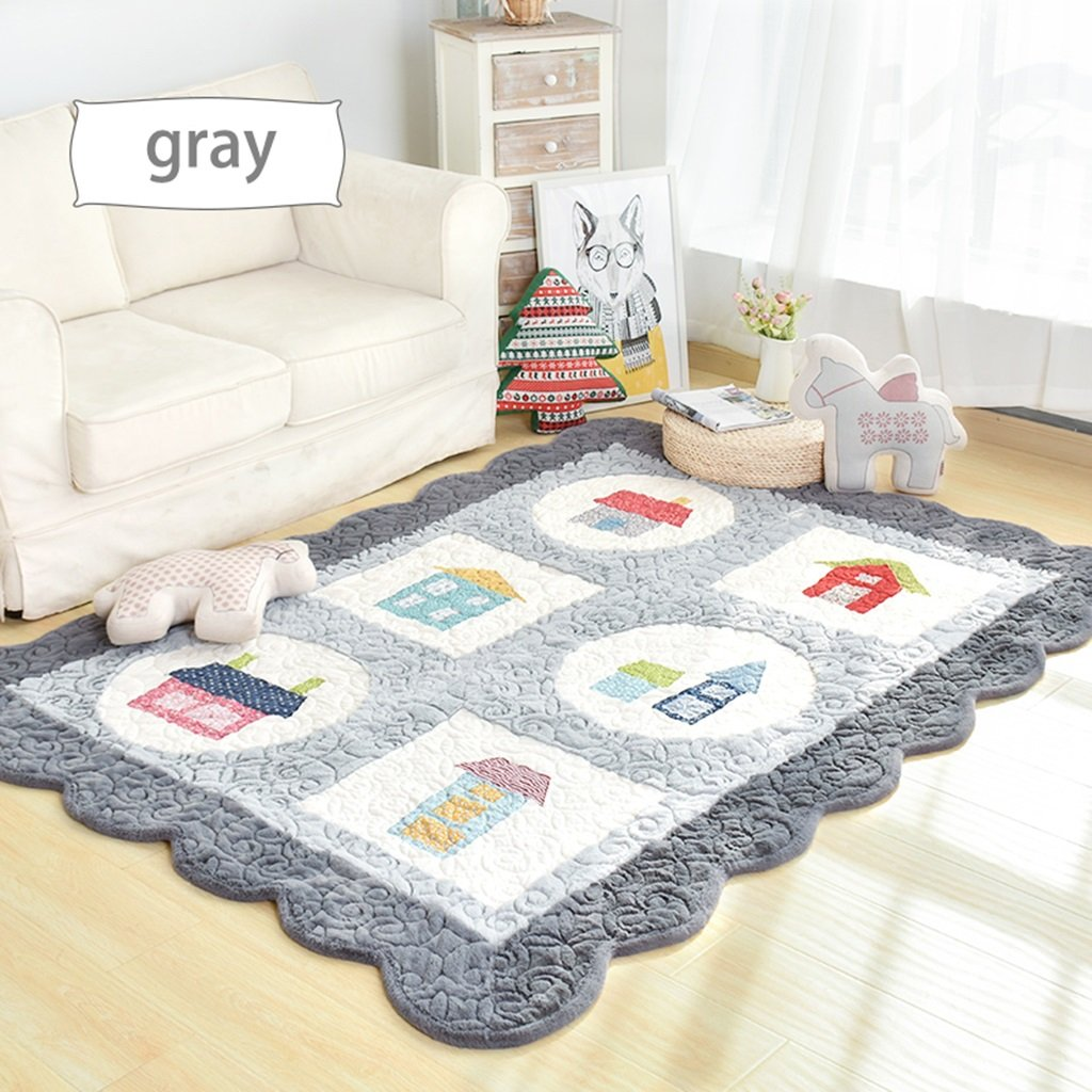 Korean Style Non-slip Carpet Living Room Bedroom Rectangular Bedside Coffee Table Crawling Mat ( Color : Gray , Size : 150CM210CM )