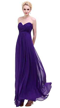 e6e135eafe7 Esvor Sweetheart Bridesmaid Chiffon Prom Dress Long Evening Gown Dark  Purple 10 at Amazon Women s Clothing store