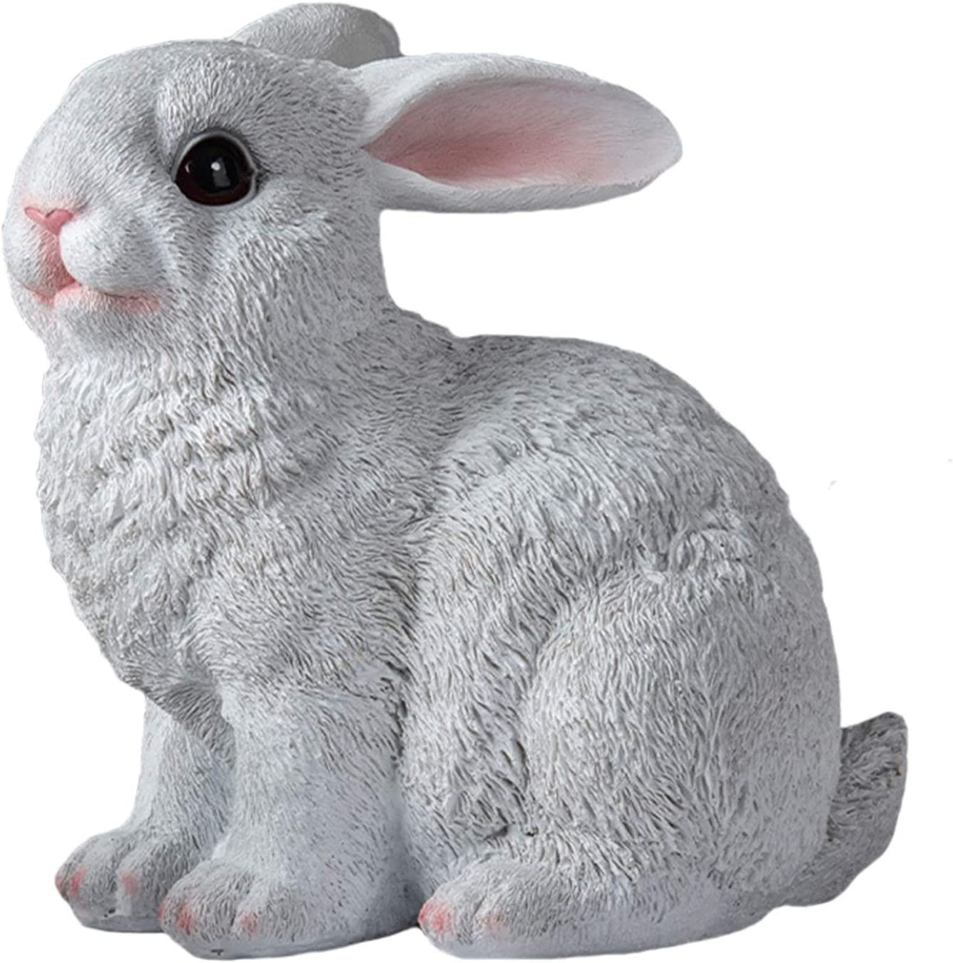 LTLWL Resin Ornaments Simulation Rabbit Ornaments Creativity Home Decorations Garden Resin Ornament Statue Crafts Gifts for Friends,White Squatting Position