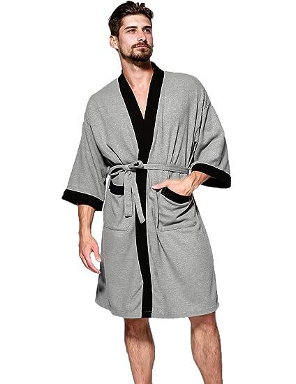 Waffle Chambre Soft Hammia Peignoir Homme Robe Pyjama Kimono De OPZXuTki