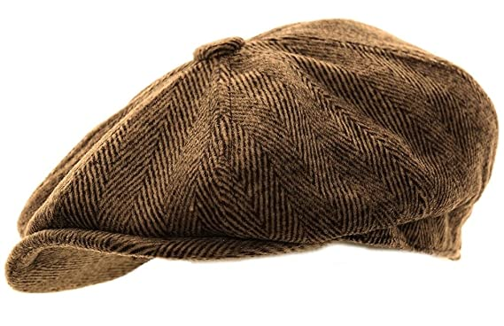 845b3e4049 Hawkins Mens Herringbone Baker Boy Caps newsboy Hat Country Style Flat Cap