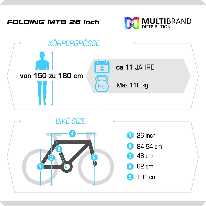 Multibrand, PROBIKE Folding MTB 26, 26 Zoll, 457mm, Klapp ...
