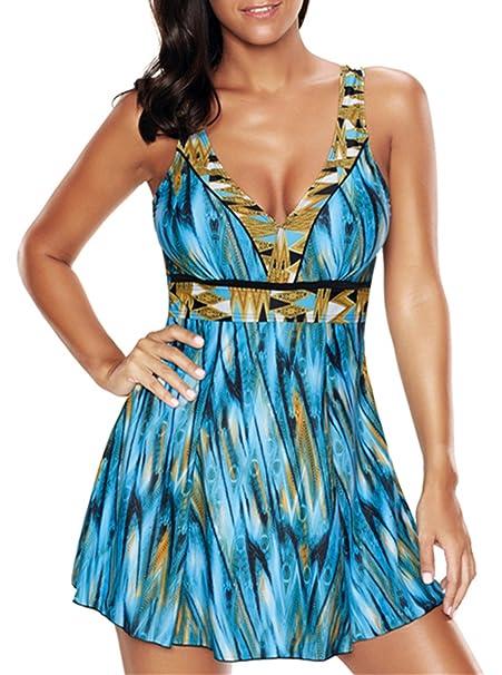 4e7f7765d41dc Vintage Plus Size Long Torso One Piece Swimwear Backless Floral Bathing  Suit Retro Swim Dress Blue