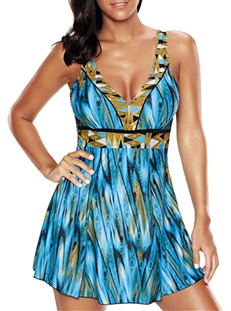 1dd766e71cd41 Vintage Plus Size Long Torso One Piece Swimwear Backless Floral Bathing Suit  Retro Swim Dress Blue