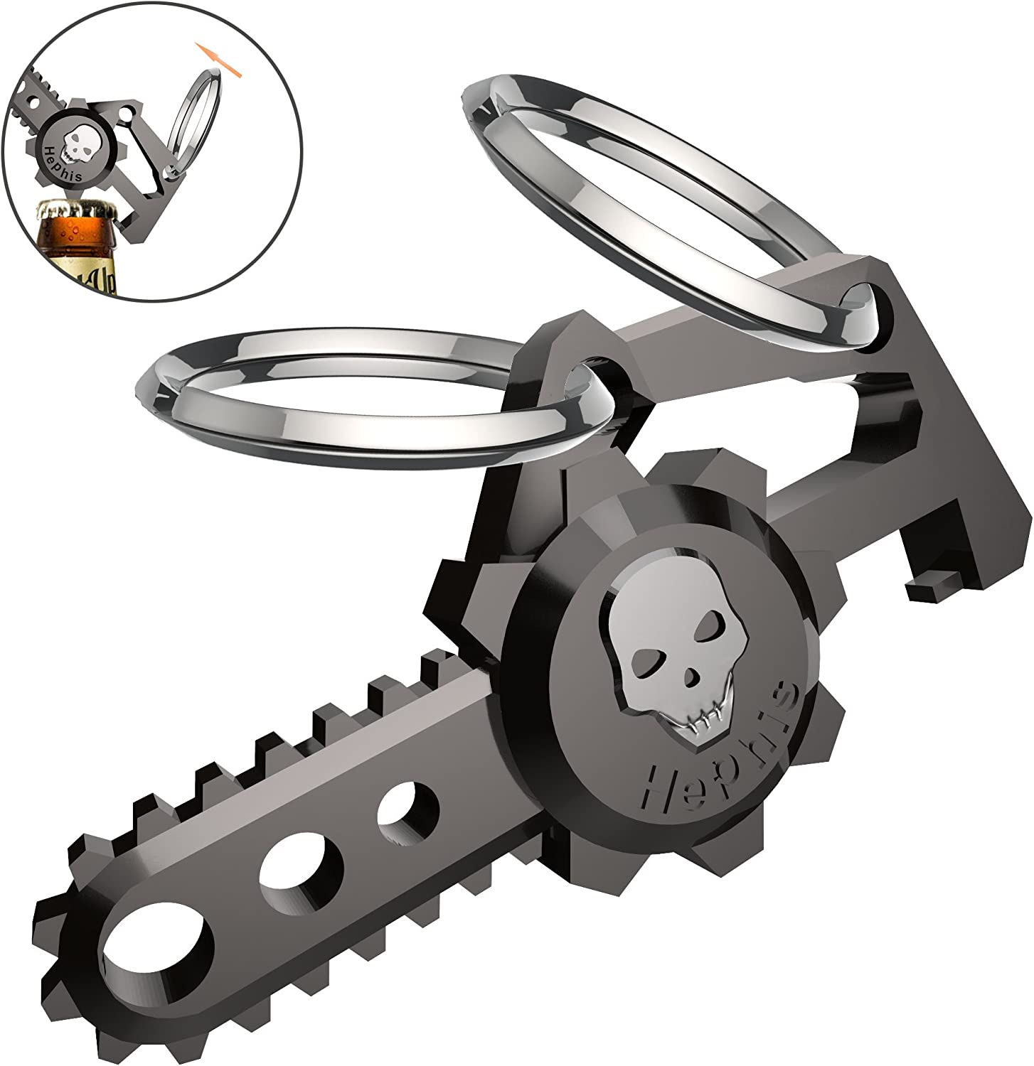 Hephis Chainsaw Skull Car Keychain with Dual Rings for Men,Women,Bottle Opener(Gun Black)