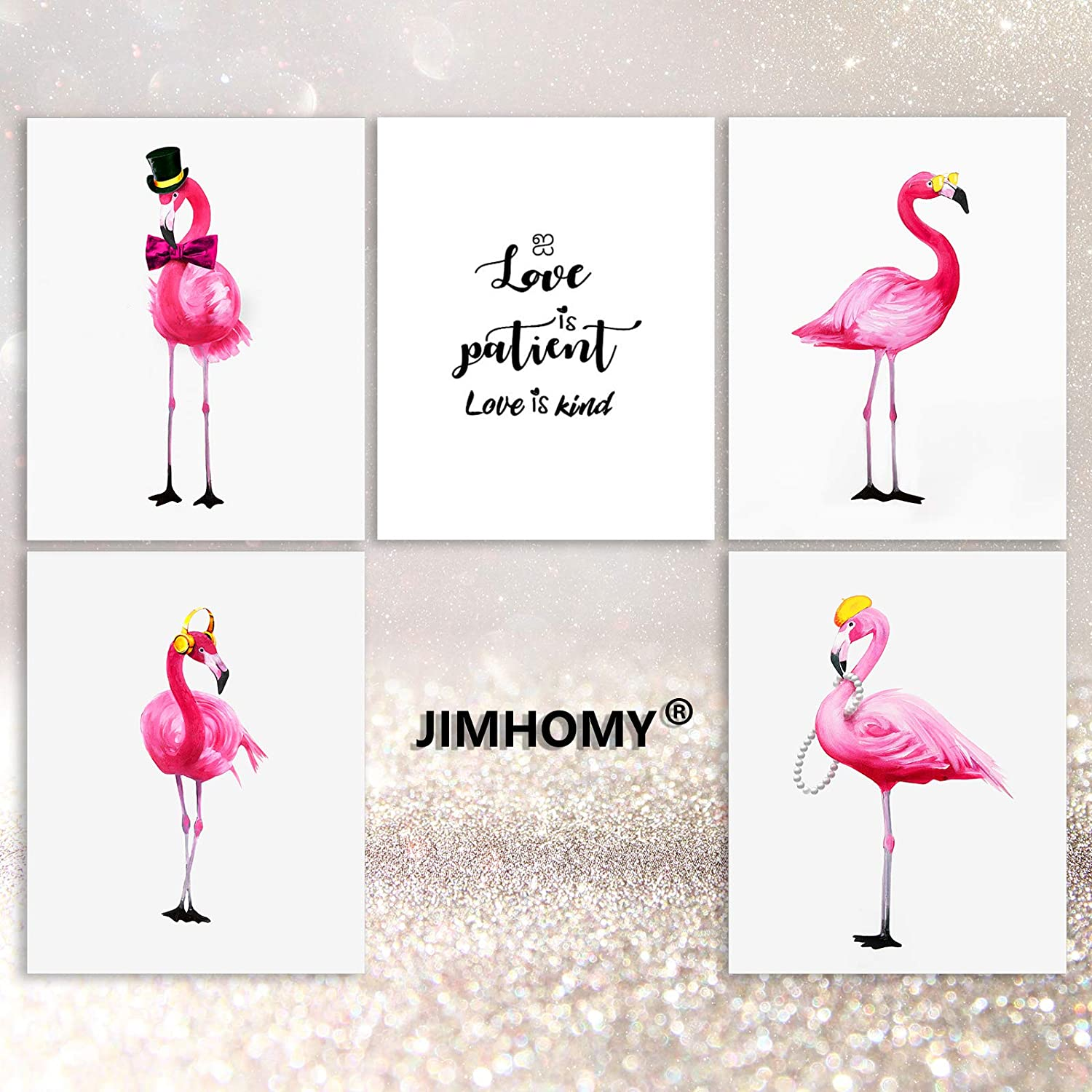 JIMHOMY Animal Canvas Prints Pink Wall Art for Women Flamingo Wall Prints Posters - Love is Patient Love is Kind Quote Wall Decor for Living Room Kitchen Set of 5 UNFRAMED 8x10in