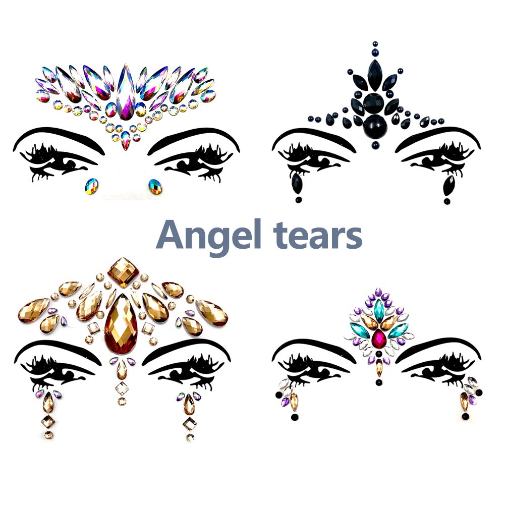 Face Gems Glitter - 8 Sets Mermaid Face Jewels Rhinestone Tattoo Face Glitter Bindi Crystals Rainbow Tears Face Gems Stickers Fit for Festival Party by LanGui (Image #2)