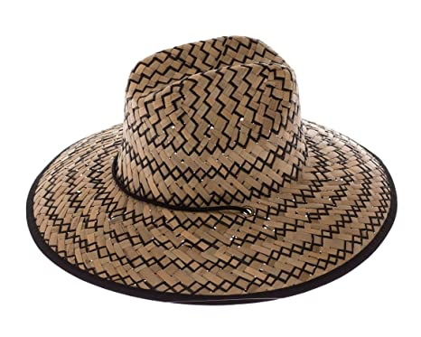 19b346b226c Image Unavailable. Image not available for. Color  Handmade Natural   Black Straw  Wide Brimmed Lifeguard Hat ...