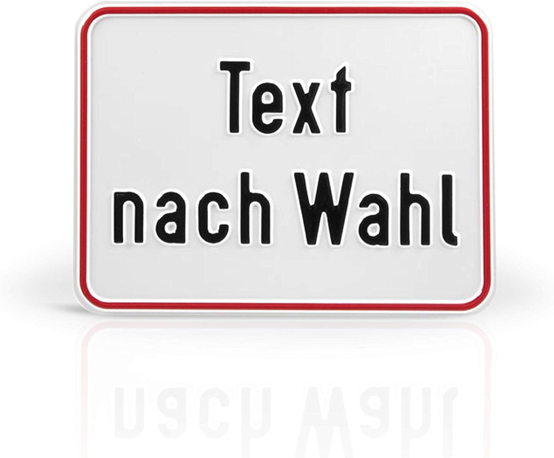 gelbes Aluminiumschild mit schwarzer Schrift Betriebsausstattung24 Individuell gefertigtes Schild im Querformat Text nach Wahl Ecken abgerundet 20,0 x 15,0 cm erhaben gepr/ägt