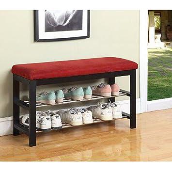 Amazon.com: Muebles de banco zapatero estante asiento cojín ...