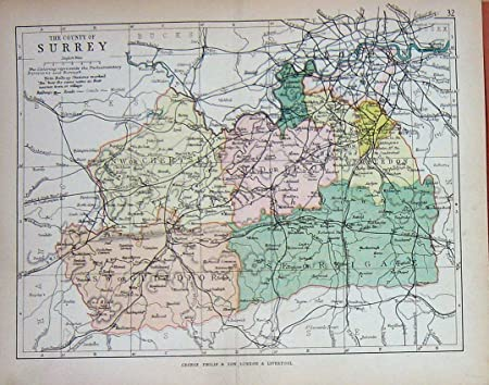 Guilford England Map.Old Original Antique Victorian Print Map England C1895 Surrey Epsom
